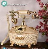 تصویر تلفن رومیزی سلطنتی آرنوس کرم طلایی مدل 038-AF