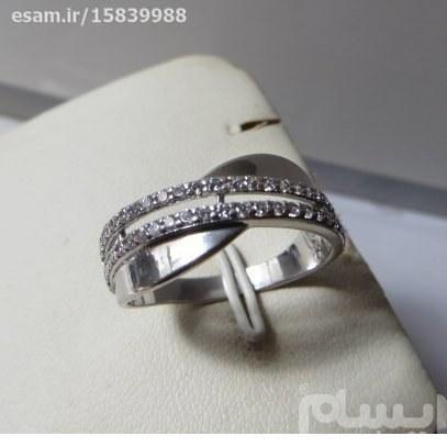 انگشتر  زنانه نقره سولیتر بسیار ظریف و زیبا بانگین های کوارتزسفید مدروز | انگشتر زنانه نقره سولیتر مجلسی تایلندی 2.38g
