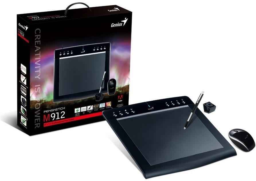 تصویر قلم نوری و ماوس پن جنیوس مدل ام 912 ای قلم نوری , صفحه دیجیتال جنیوس Graphic Tablet PenSketch M912A
