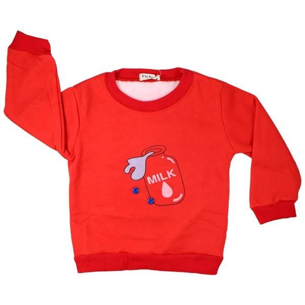 تی شرت آستین بلند تو کرکی Rurubei طرح میلک قرمز