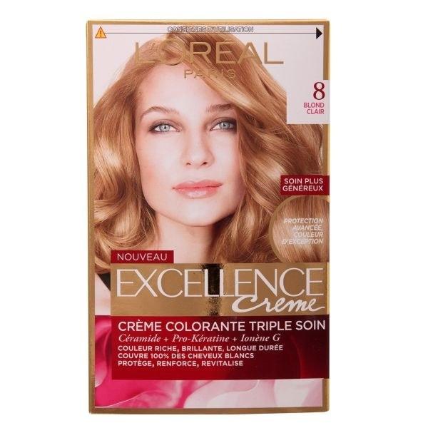 تصویر کیت رنگ مو اکسلانس لورال L'OREAL شماره 8 LOREAL Excellence Hair Color Kit No8