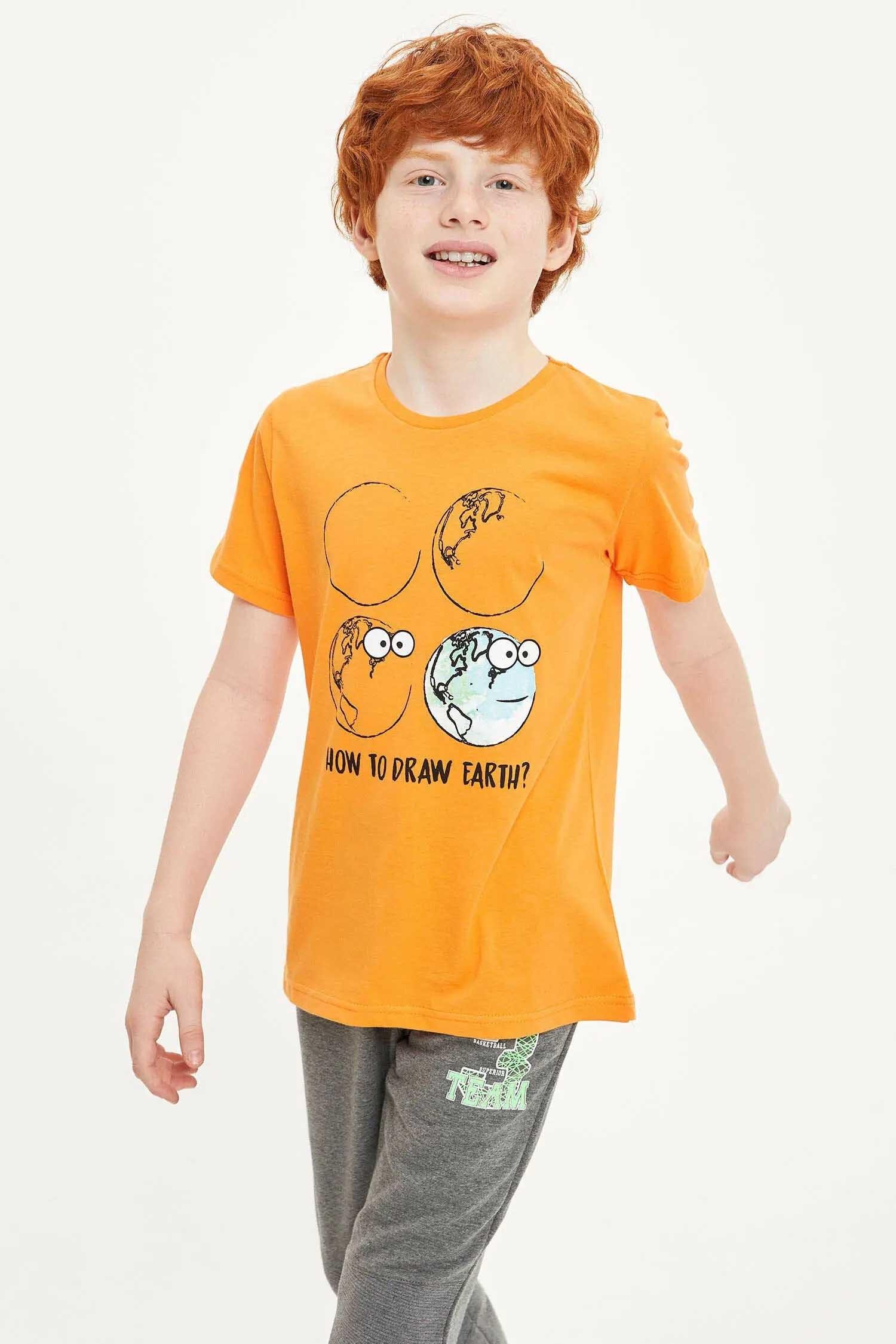 تصویر تیشرت یقه گرد چاپ دار نارنجی رنگ پسرانه کد: S0145A6OG120
