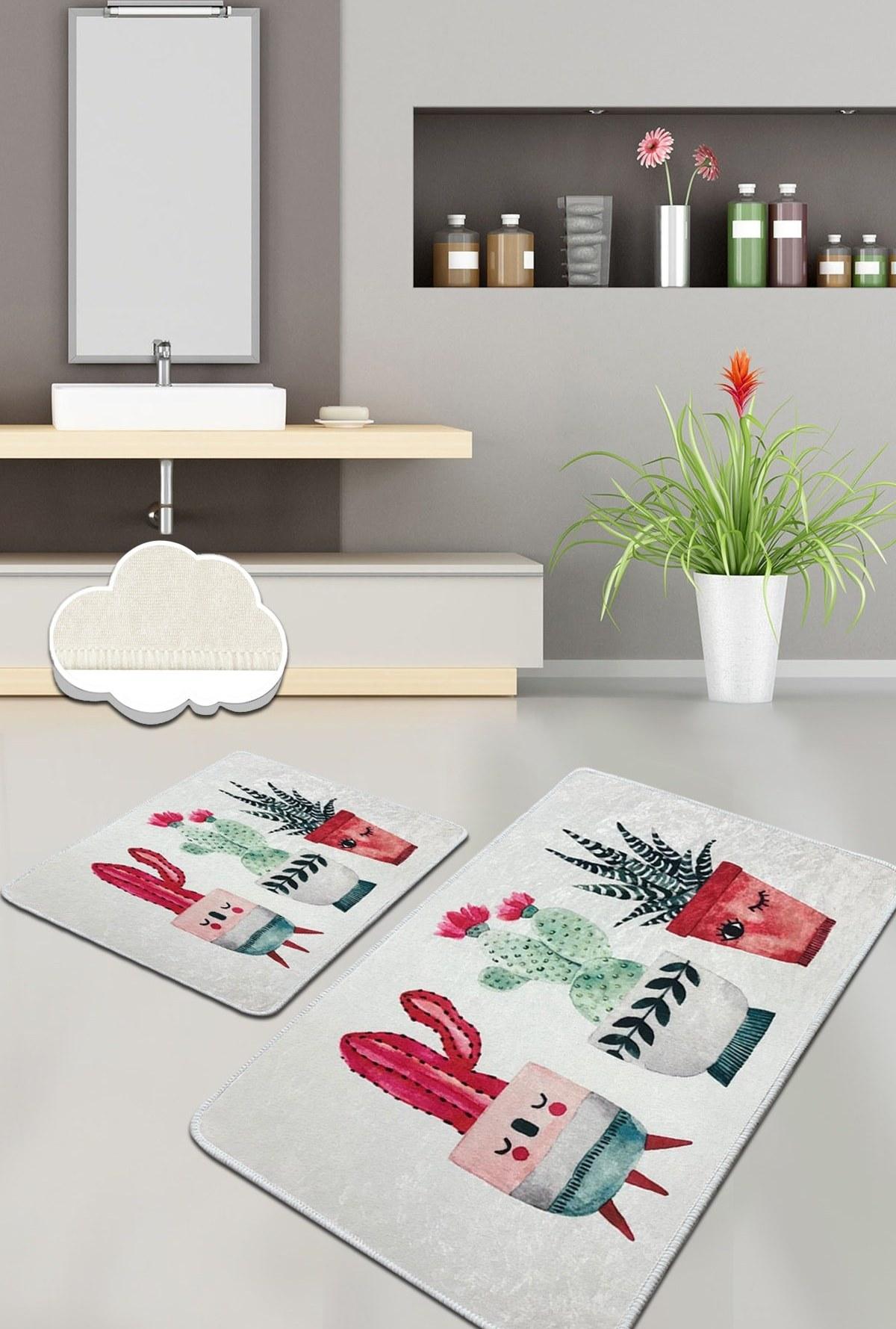 تصویر زیرپایی فرش ست حمام شاد 2تکه کاکتوس برند Chilai Home کد 1618894054