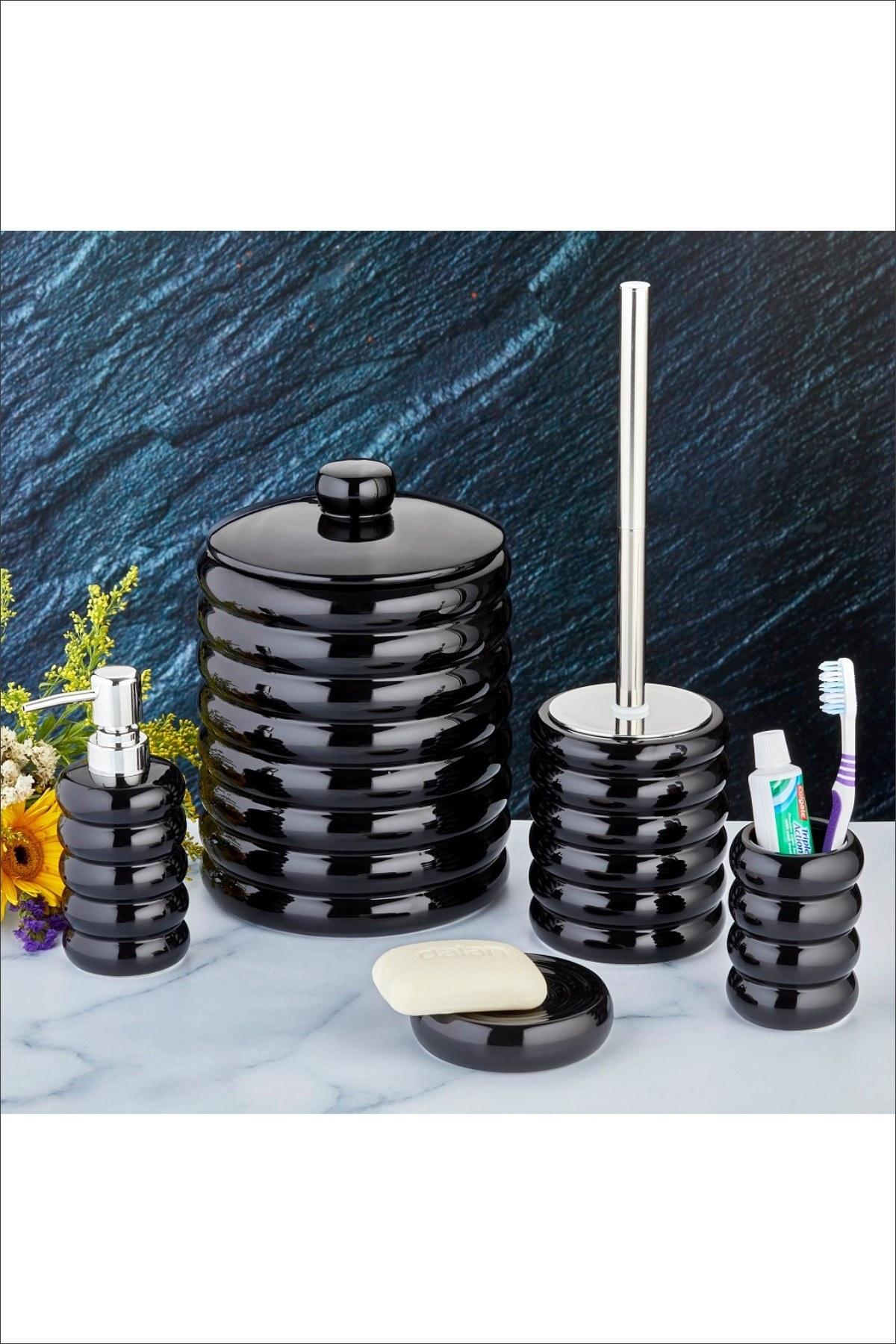 main images ست سرویس بهداشتی سرامیک 5تکه مشکی سطل زباله برند Pinkev کد 1598945037