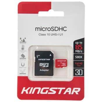 کارت حافظه microSDHC کینگ استار کلاس 10 استاندارد UHS-I U1 سرعت 45MBps همراه با آداپتور SD ظرفیت 16 گیگابایت | Kingstar UHS-I U1 Class 10 45MBps microSDHC With Adapter 16GB