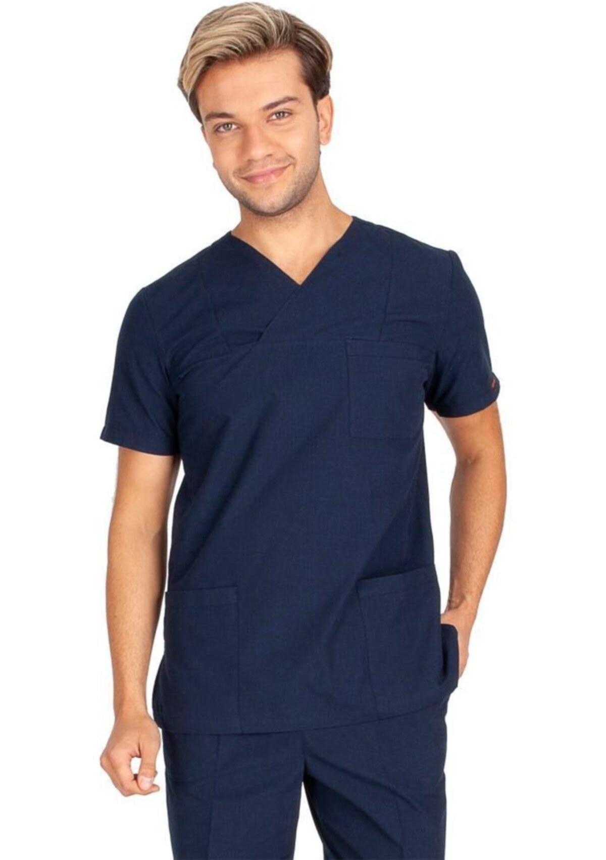 تصویر یونیفرم کلاسیک پرستار مردانه یقه پارچه آستین تکی برند VEHBİ کد 1621670161