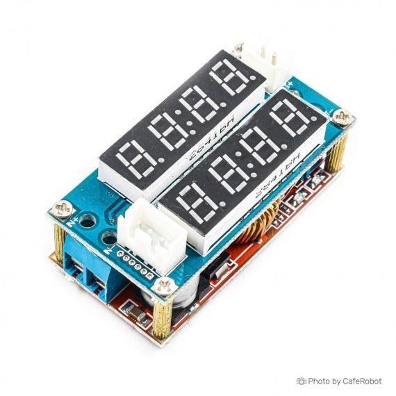 تصویر منبع تغذیه و رگولاتور قابل تنظیم همراه با نمایشگر جریان و ولتاژ DCDC-5-30V