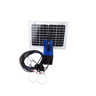 تصویر پکیج خورشیدی 10 وات دارای 2 لامپ 3 وات با باتری 7 آمپر