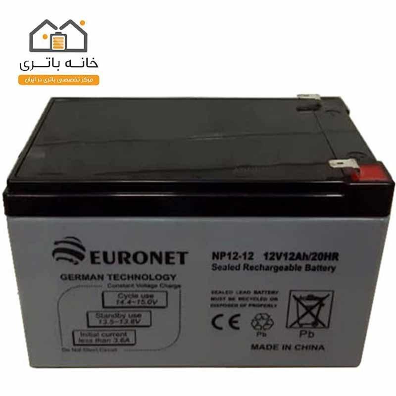 تصویر باتری خشک 12 ولت 12 آمپر یورونت (euronet)