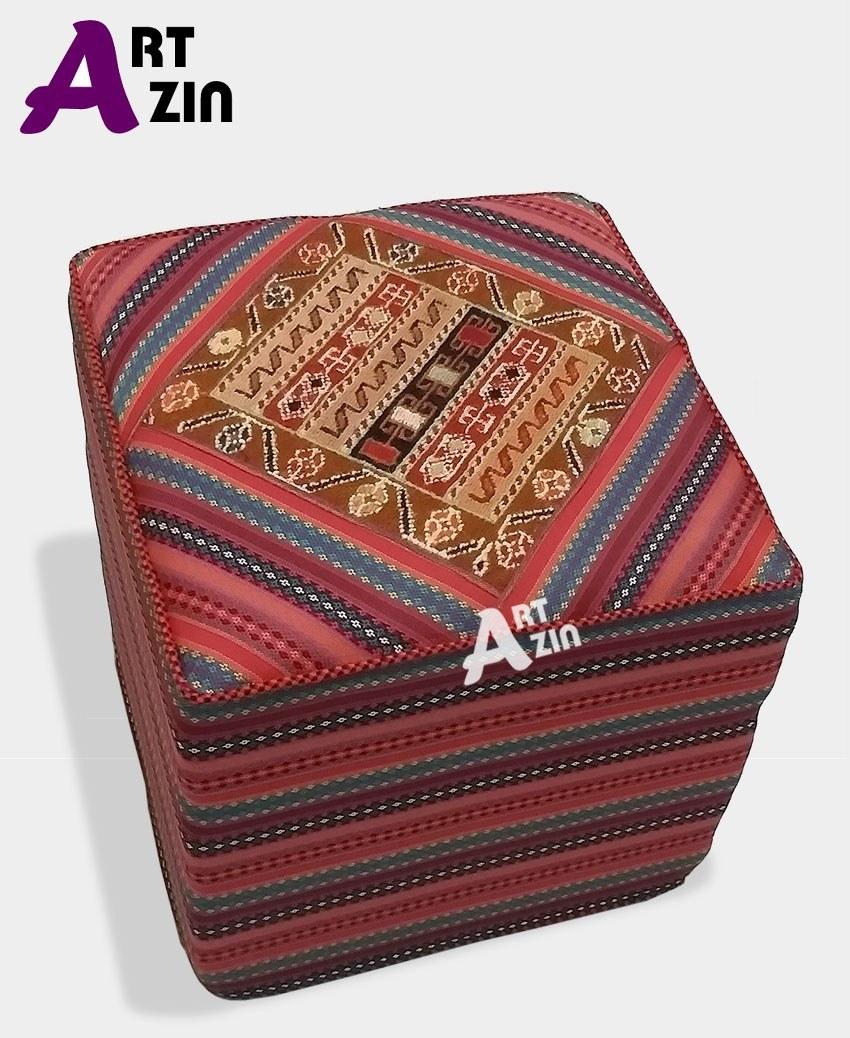 تصویر پاف سنتی مبل مربع گلیم سوزنی صندلی راحتی کد: 9-409