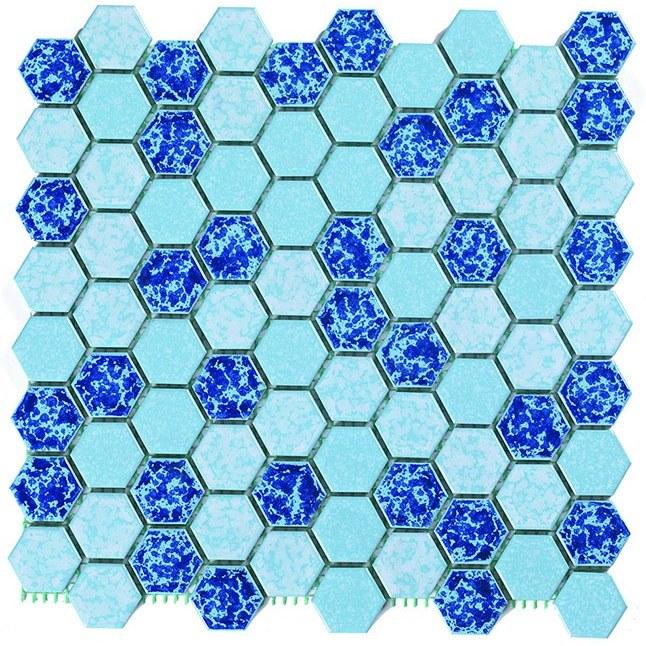 تصویر کاشی استخری مدل میکس بارانی شش ضلعی سرامیک البرز