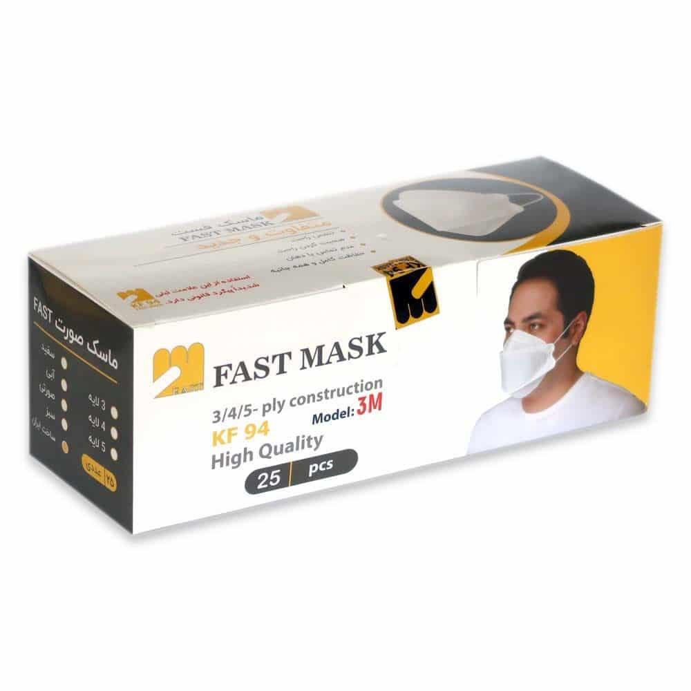 تصویر ماسک سه بعدی فست ماسک 5 لایه kf94 با لوگوی اصالت کالا (3D) - بسته 25 عددی