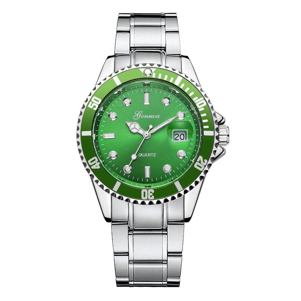 db0770eb5bd Mens Quartz Watches COOKI Clearance Analog Cheap Watches on Sale Stainless  Steel Watches for Men-A02 (Green)