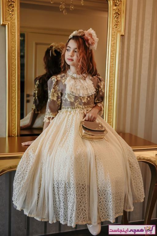 تصویر فروش پستی لباس مجلسی دخترانه ترک برند MIALORA EXCLUSİVE رنگ قهوه ای کد ty94578577