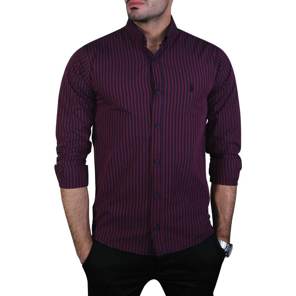 پیراهن مردانه خطی آستین بلند زرشکی پولو