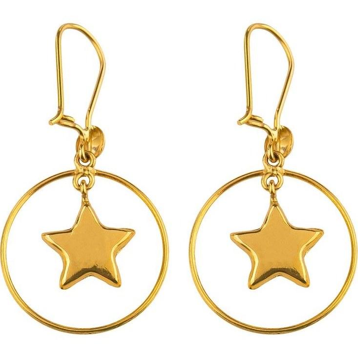 تصویر گوشواره طلا 18 عیار گالری عدنان مدل آویز ستاره و حلقه