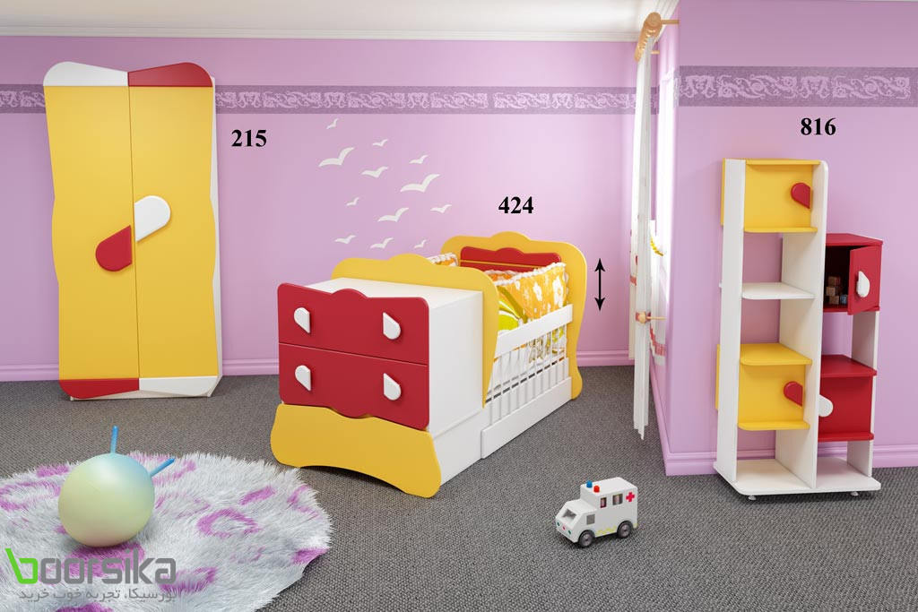 سرویس خواب تک نفره نوزاد پاپیون تراشه Tarasheh 424 Baby Bed