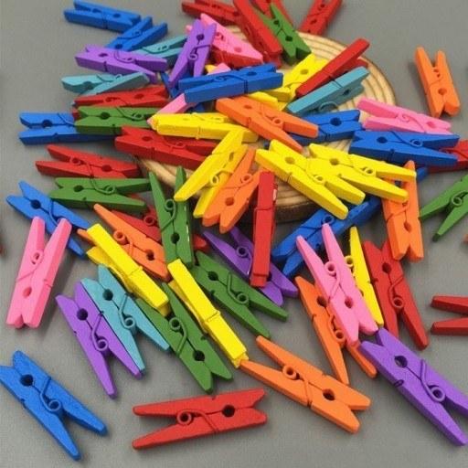 گیره چوبی رنگی ( بسته 100 عددی)