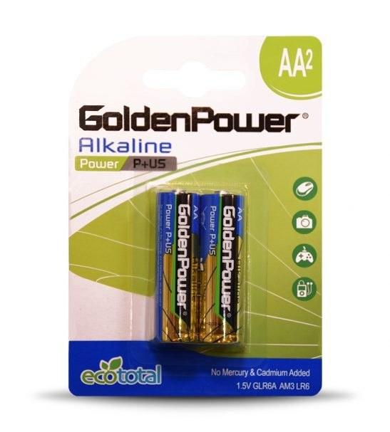 باتری قلمی آلکالاین گلدن پاور مدل Eco Total Power Alkaline بسته 2 عددی