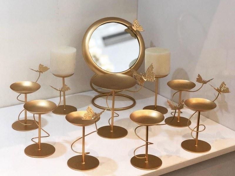 تصویر مجموعه ظروف هفت سین فلزی طرح پروانه