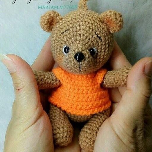 تصویر آویز وسرکلیدی خرسی خرس بافتنی سرسوییچی خرسی خرس بافتنی