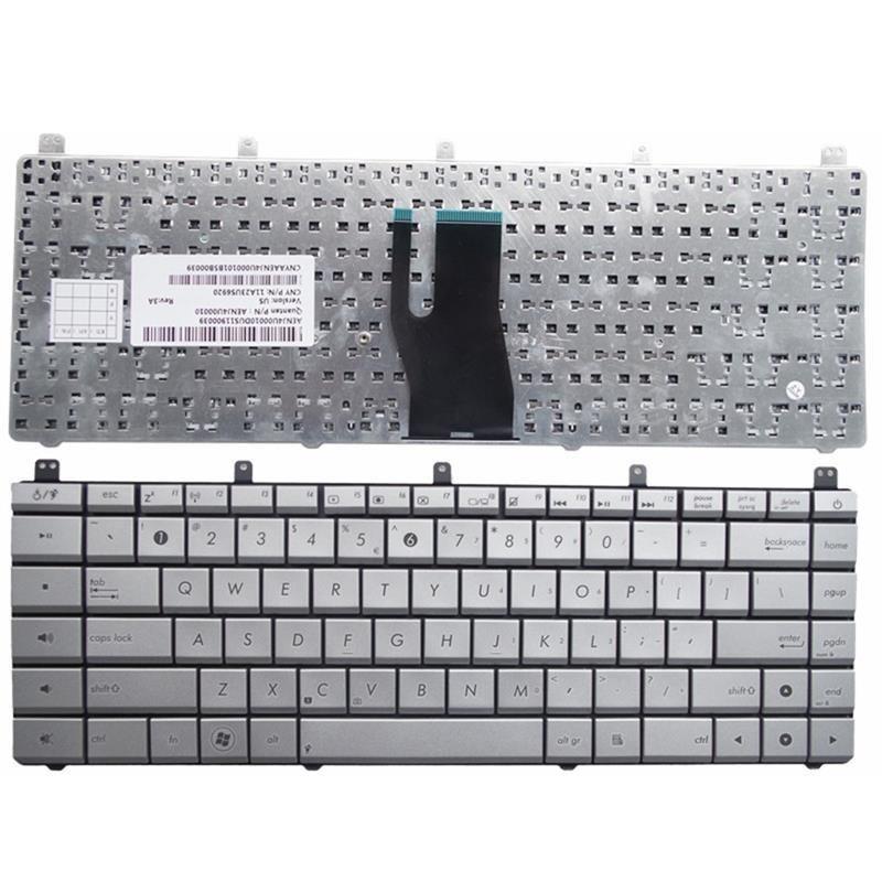 تصویر کیبورد لپ تاپ ایسوس n45 نقره ای Asus n45 laptop Keyboard
