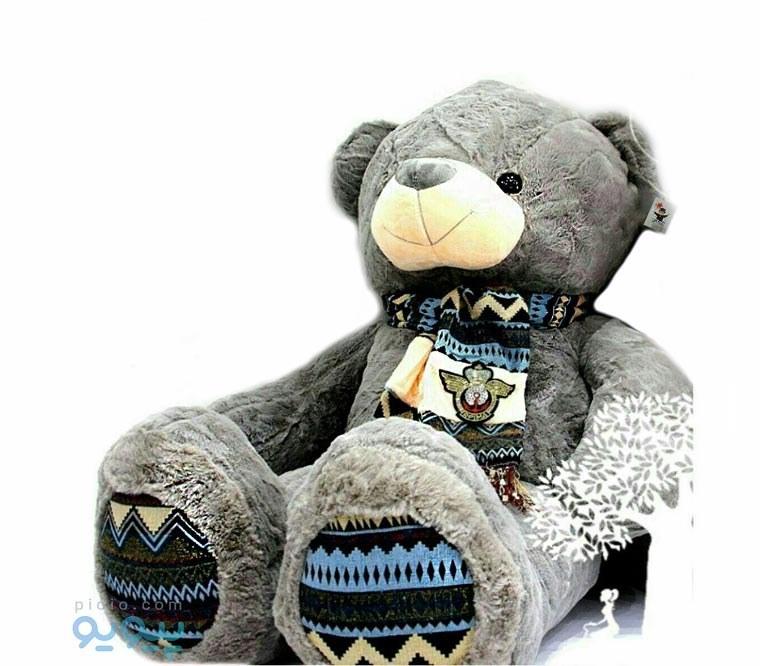 عروسک خرس بزرگ با شال گردن |