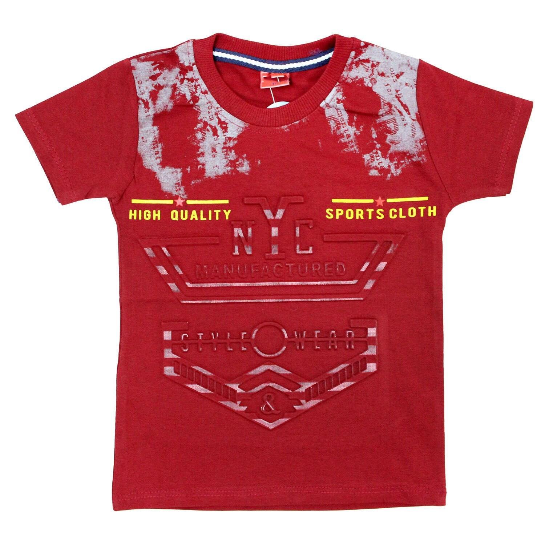 تصویر تی شرت پسرانه مدل BARJAS23 رنگ زرشکی