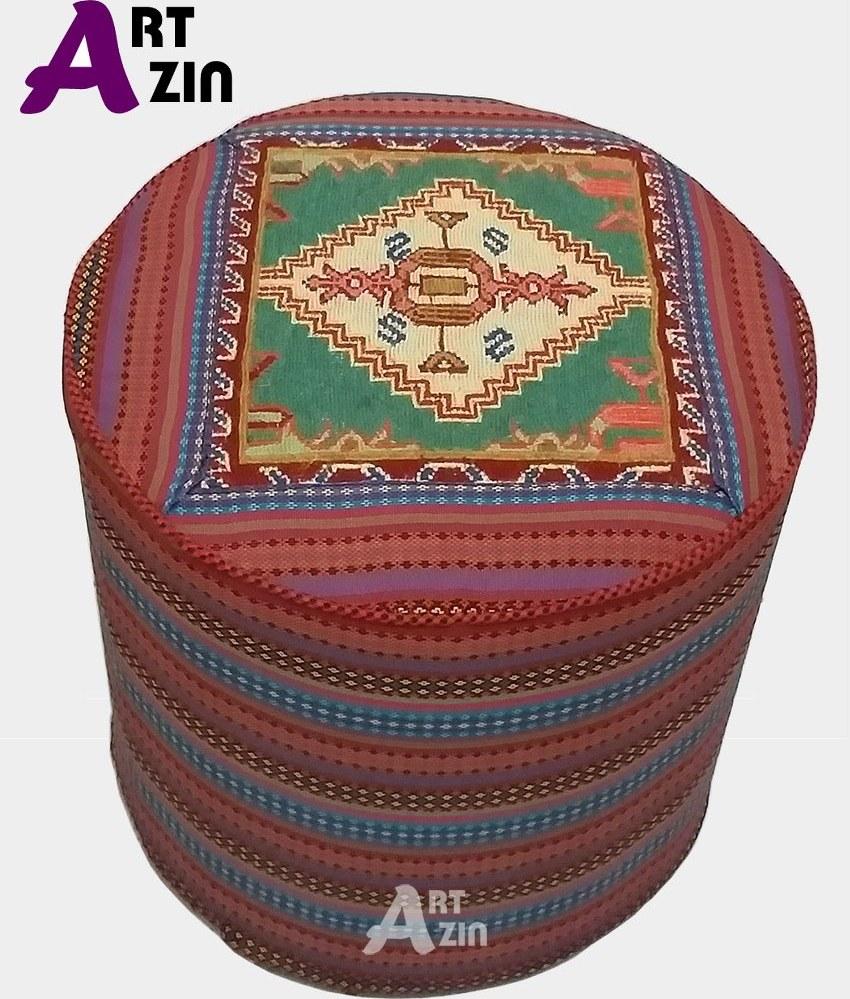 تصویر پاف تخت سنتی گرد گلیم سوزنی مبل راحتی کد: 11-405