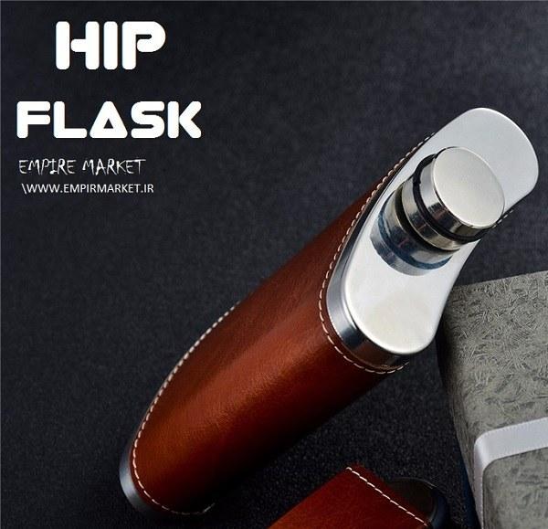 هیپ فلاسک استیل چرم طرح WOLF  (قمقمه جیبی) |