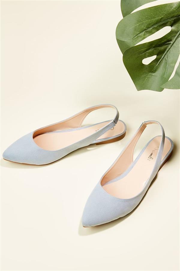 کفش چرم مصنوعی زنانه تخت آبی بامبی  