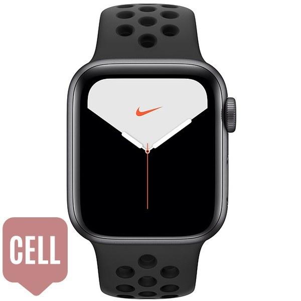 اپل واچ سری 5 نایکی زنانه سلولار Space Gray Aluminum Case with Anthracite/Black Nike Sport Band