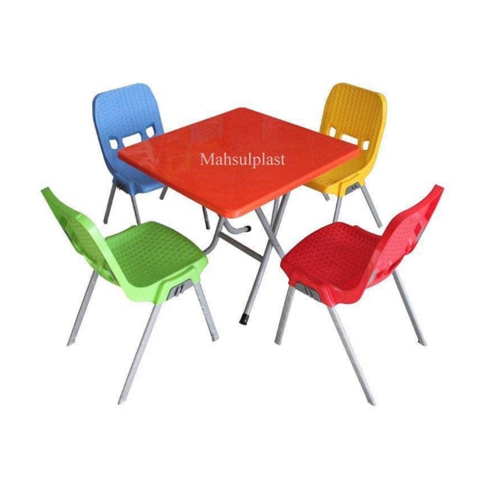 تصویر ست میز و صندلی 4 نفره پایه فلزی 881-723