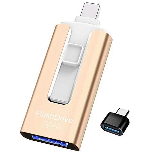 تصویر USB Flash Drive 128 GB High Speed Memory Photo Stick 4 in 1 Thumb Drive Jump Drive Compatible with iPhone, iPad, MacBook, Android, Samsung, PC and More Devices (Gold)