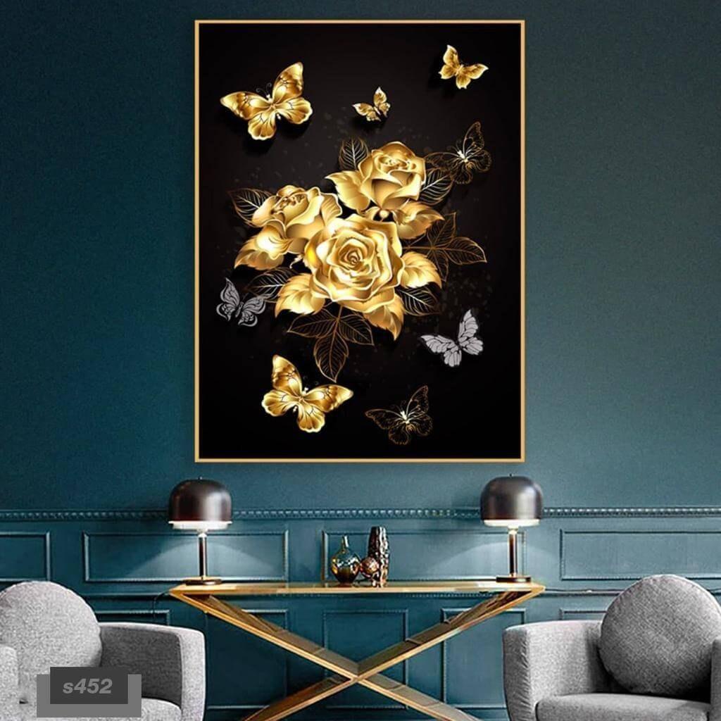 تصویر تابلو دکوراتیو مدرن گل و پروانه طلایی کد ۴۵۲