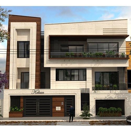تصویر نقشه ساختمان مسکونی نما مدرن