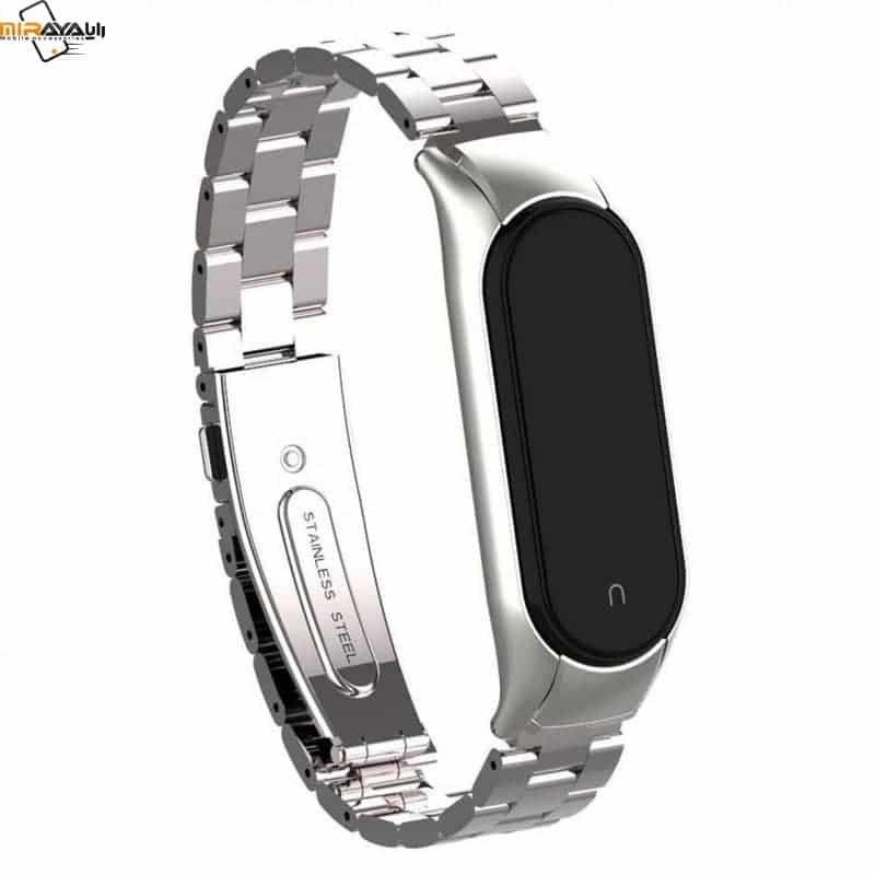 تصویر بند استیل فلزی رولکسی می بند ۵ شیائومی | Xiaomi Mi Band ۵ Milanese Metal Stainless Steel Wrist Strap