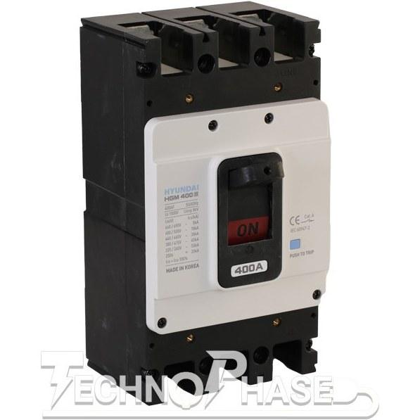 تصویر کلید اتوماتیک کمپکت 400 آمپر غیر قابل تنظیم حرارتي هيوندای مدل HGM