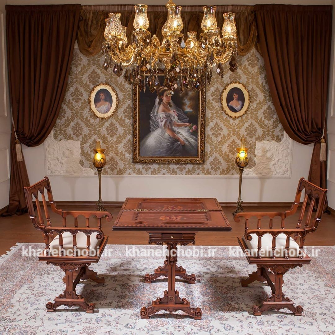 تصویر میز و صندلی تخته نرد و شطرنجچوب راش