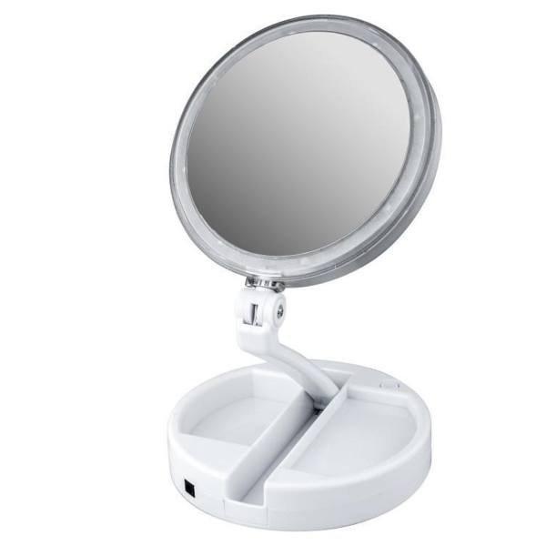 تصویر آینه  آرایشی Foldaway  مدل چراغ دار با قابلیت بزرگنمایی