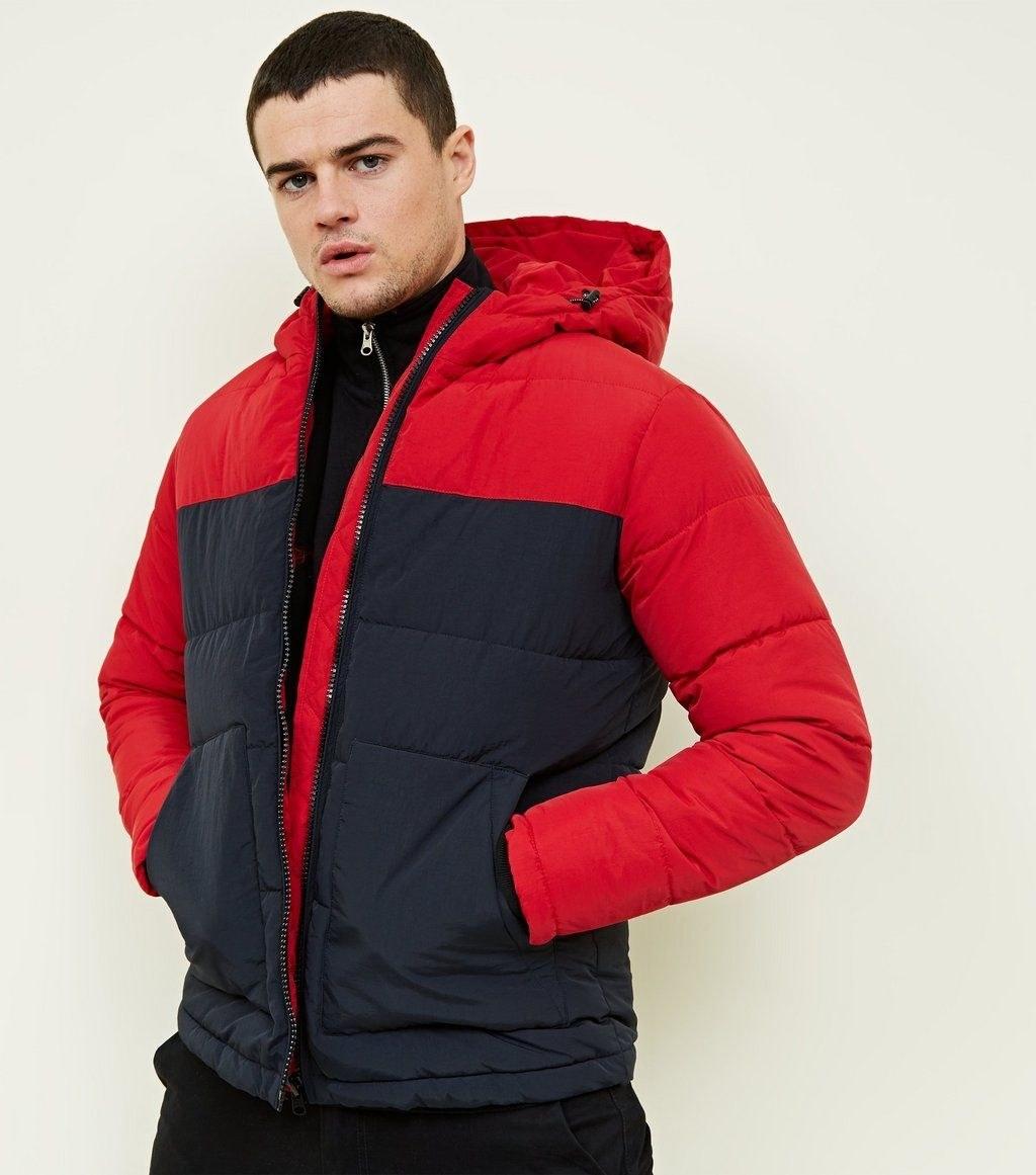 مردانه - کاپشن مردانه نیولوک (انگلستان) Red and Navy Colour Block Puffer Jacket |