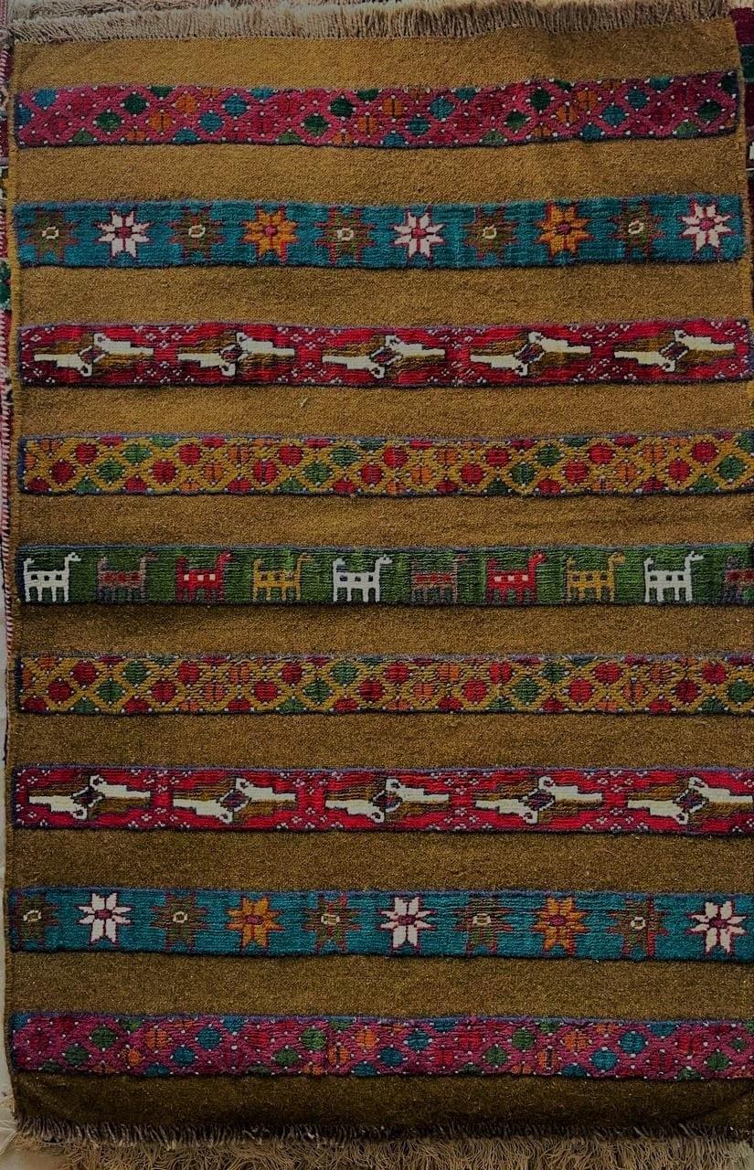 تصویر گلیم فرش  دستبافت 1.5 متری طرح ترکمن جرگلانی خراسان شمالی رنگ سبز