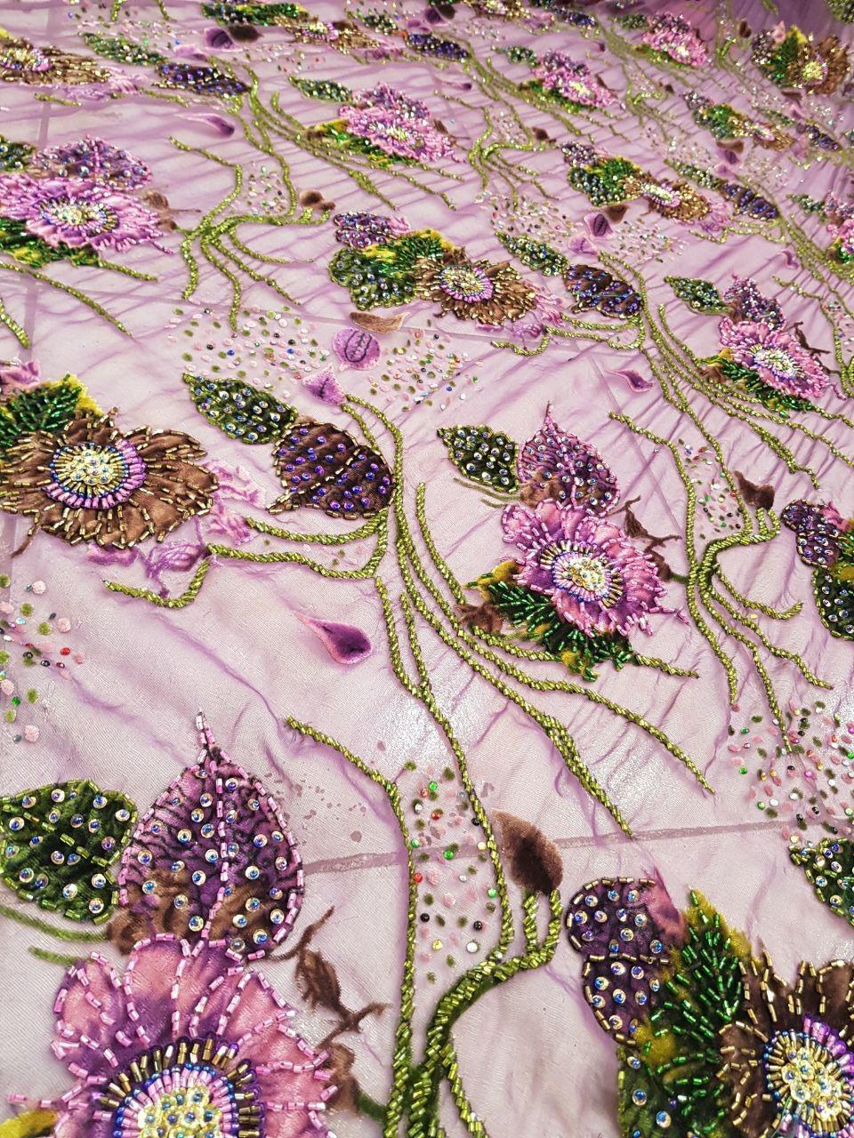 پارچه لباس کردی زنانه حریر گل مخملی با ملیله دوزی و نگین کاری