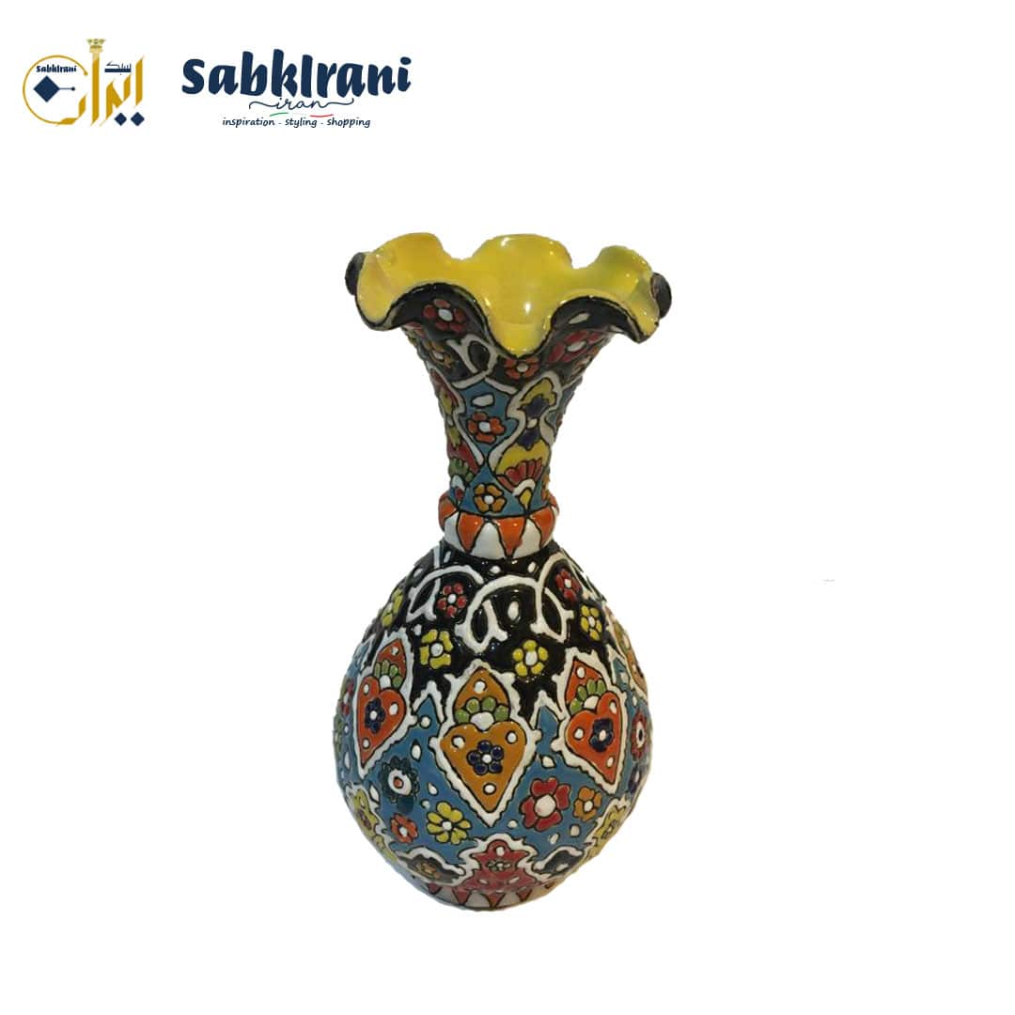 تصویر گلدان سنتی سفالی میناکاری