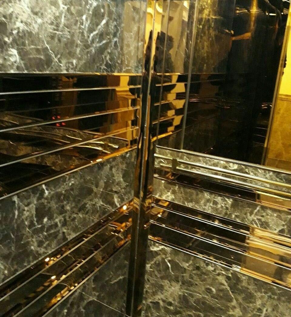 تصویر کابین آسانسور mdf_استیل طلایی