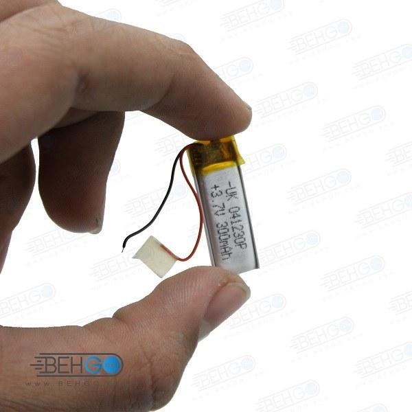 تصویر باتری هدفون بلوتوث لیتیومی تک سل 3.7V 300mAh دارای برد محافظ باطری کیفیت بالا 041230p 3.7v 300mah high quality battery