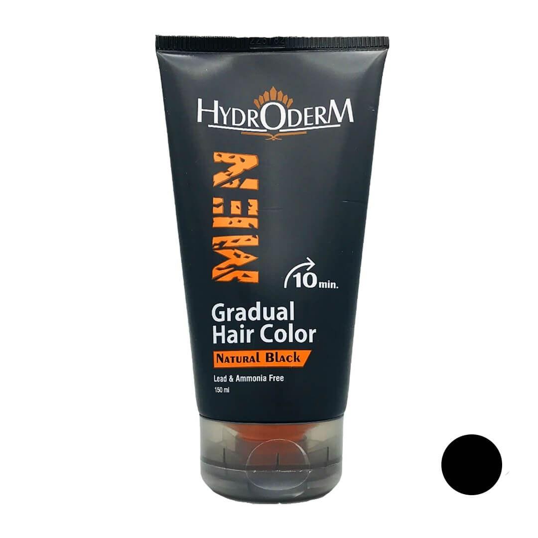 تصویر کرم رنگ مو تدریجی هیدرودرم برای آقایان رنگ مشکی طبیعی hydroderm men gradual hair color natural black