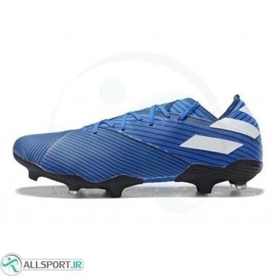 کفش فوتبال آدیداس نمزیز طرح اصلی آبی سفید Adidas Nemeziz 19.1 FG Blue White Core Black
