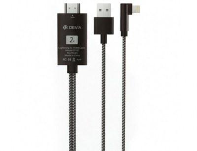 تصویر کابل مبدل لایتنینگ به اچ دی ام آی دویا Devia EC083 Storm Lightning+USB to HDMI Cable 2m