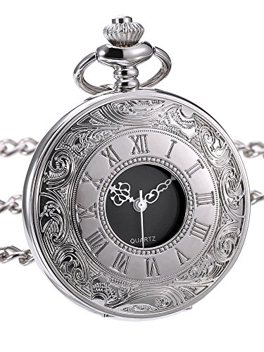 Hicarer Classic Quartz Pocket Watch with Roman Numerals Scale and Chain Belt |